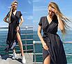 Длинное женское летнее платье на запах в горошек  больших размеров,софт, р.50 52,  черный/красный/бежевый/, фото 10