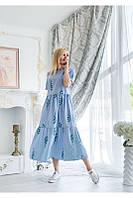 Летнее красивое длинное модное платье в полоску с цветами больших размеров, хлопок, размеры 48-50/52-54/56-58