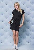 """Модное повседневное женское трикотажное платье с нашивками """"Флауэр"""""""