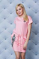 """Модное повседневное женское трикотажное платье с нашивками больших размеров """"Флауэр"""""""