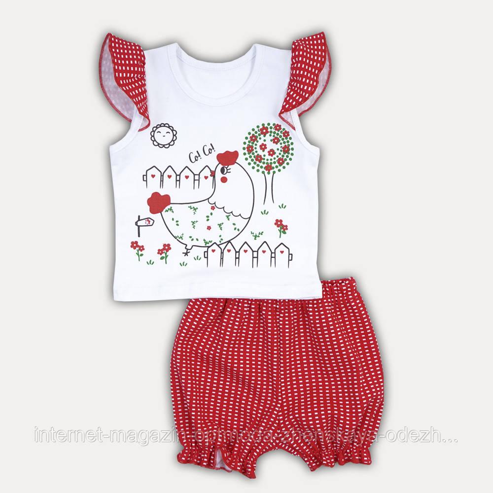 """Детский летний комплект для девочки футболка и шортики """"Chicken baby"""""""