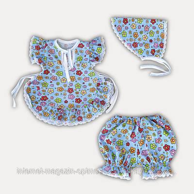 """Нежный летний костюмчик для девочки косынка, шорты и блузка """"Flowers"""""""
