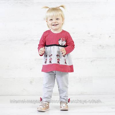 """Супер модный детский костюм для девочек туника и штанишки """"Минни"""""""