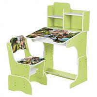 Детская парта со стульчиком трансформер. Детский стол со стулом Bambi Салатовый