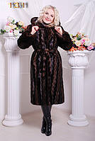 Женская Длинная, эстетичная шуба из эко-меха под норку, трапециевидная книзу. Артикул: 131