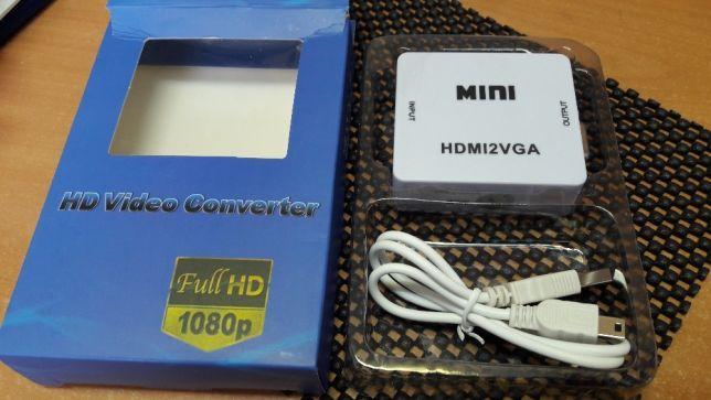 Конвертер перехідник HDMI->VGA USB живлення+звук HDMI2VGA T2 т2 ps3 ps4