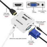 Конвертер перехідник HDMI->VGA USB живлення+звук HDMI2VGA T2 т2 ps3 ps4, фото 3