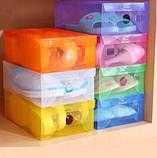 Коробки для взуття прозора зберігання взуттєві box органайзер пластик (3 шт.), фото 3