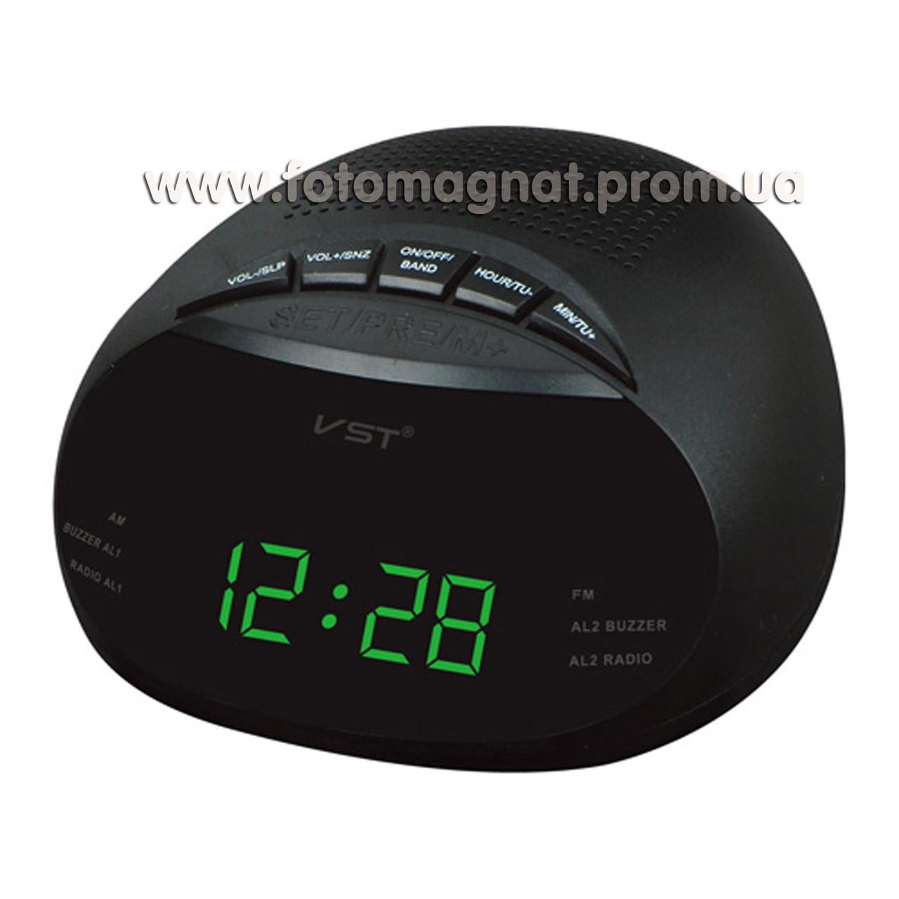 Часы сетевые VST 901-4 с  FM радио и Будильником, Салатовые