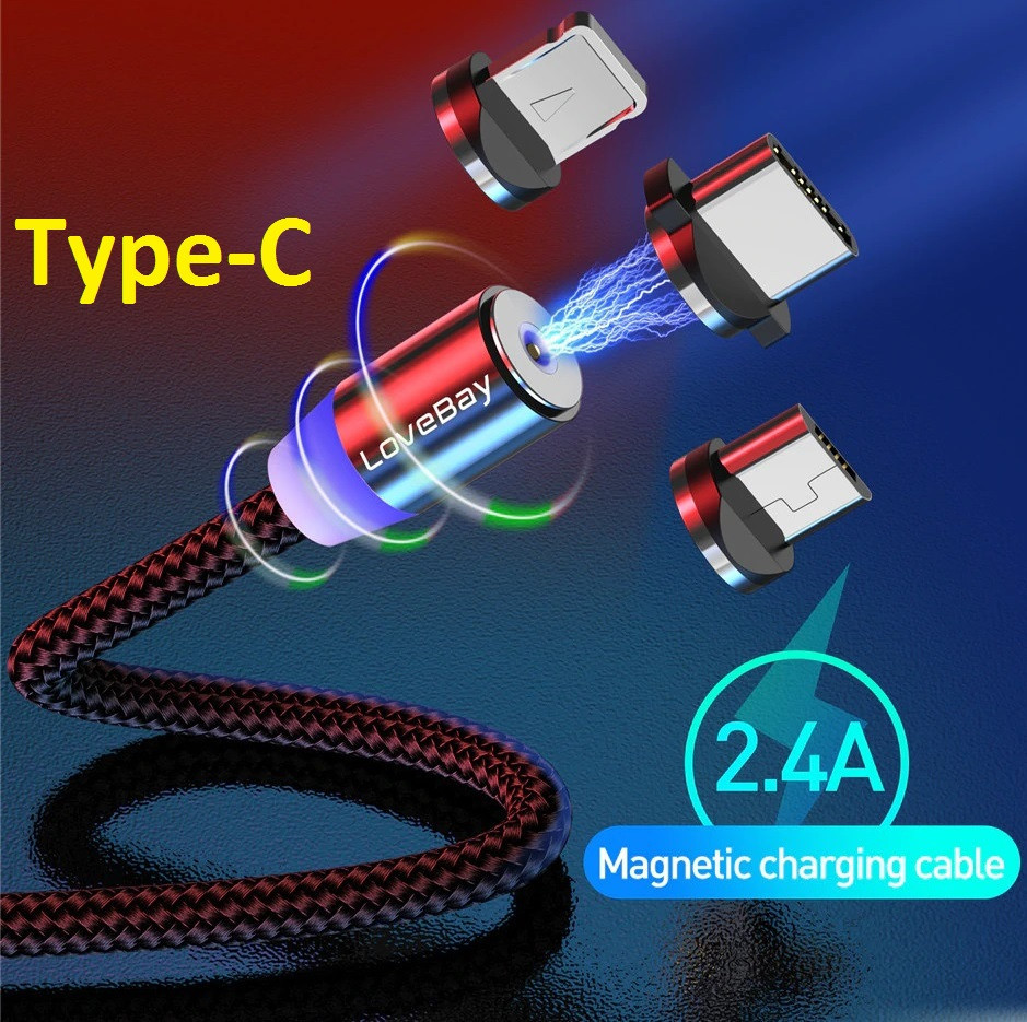 Магнитный Кабель Lovebay Type-C USB 2A Шнур с Подсветкой Усиленный Круглый