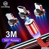 Магнитный Кабель Lovebay Type-C USB 2A Шнур с Подсветкой Усиленный Круглый, фото 2