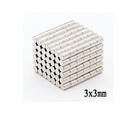 Магнит неодимовый. Диск 3x3 мм Сцепление ≈ 0,18 кг 100шт
