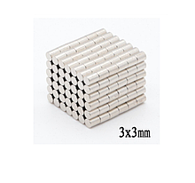 Магніт неодимовий. Диск 3x3 мм Зчеплення ≈ 0,18 кг 100шт