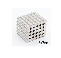 Магнит неодимовый. Диск 5x2 мм Сцепление 0,4 кг 100шт