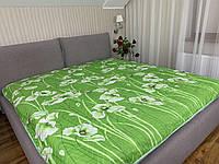 """""""салатовое с цветами"""" стеганное летнее одеяло покрывало двуспальный размер 175/205"""