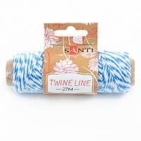 Шнур двоколірний декоративний, колір біло-блакитний, 27 м.