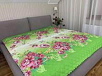 """""""салатовое с цветами"""" летнее одеяло покрывало двуспальный размер 175/205"""