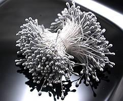 Тычинки глянцевые ≈3400шт (≈1700 двухстор.ниток) 3х5мм головка, Серебристые тычинки