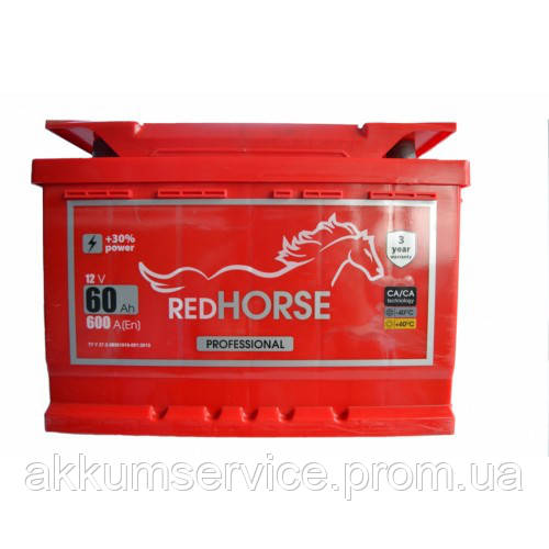 Акумулятор автомобільний Red Horse Professional 60AH L+ 600A