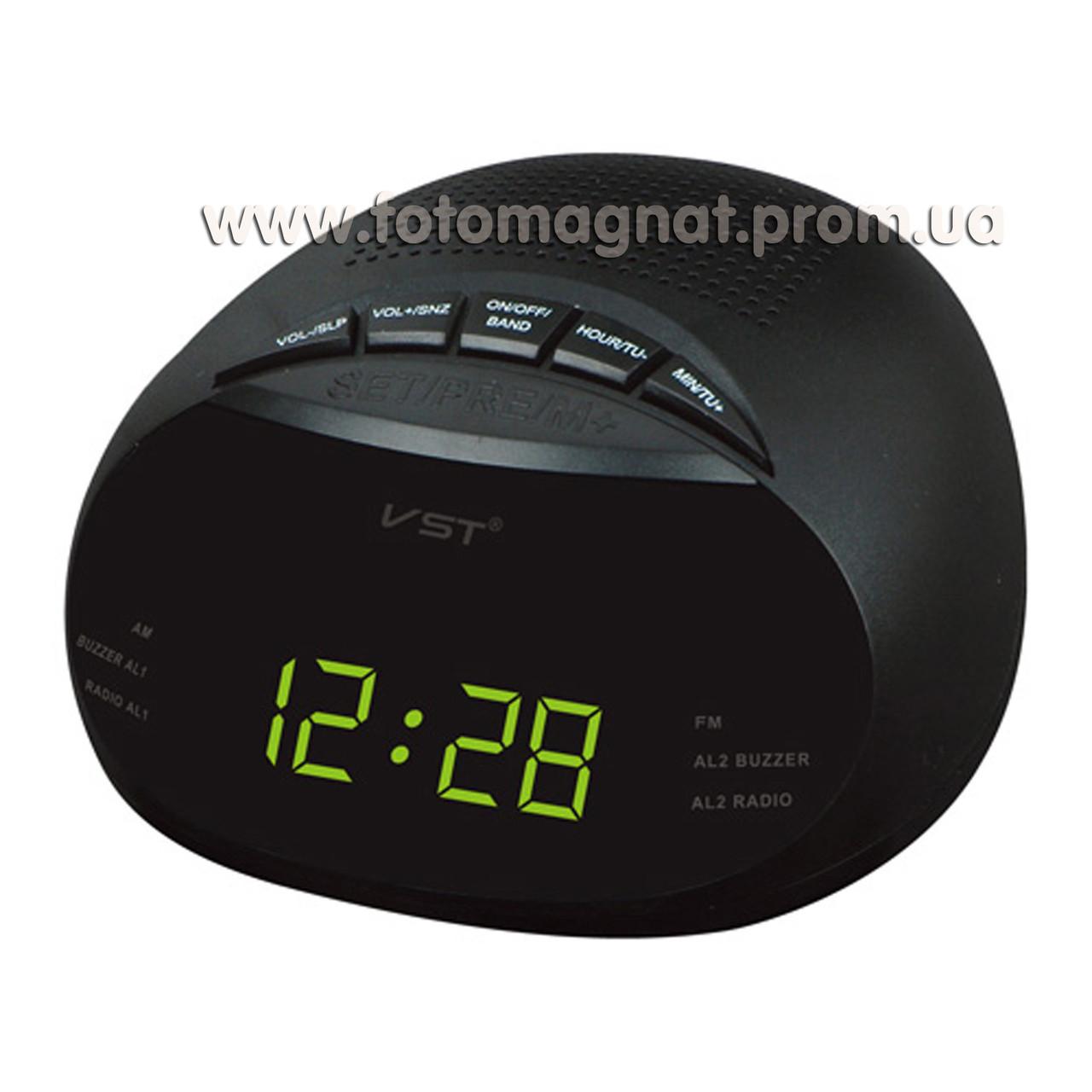 Часы сетевые VST 901-2 с  FM радио и Будильником, Зеленые