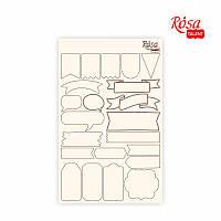 Чипборд для скрапбукинга Классический ''Теги'', белый картон, 12,6х20см, ROSA TALENT