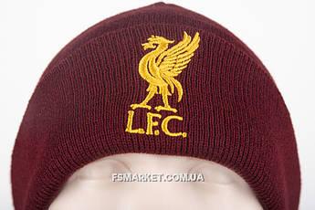 Шапка ЛИВЕРПУЛЬ двойная вязка с вышивкой логотипа футбольного клуба