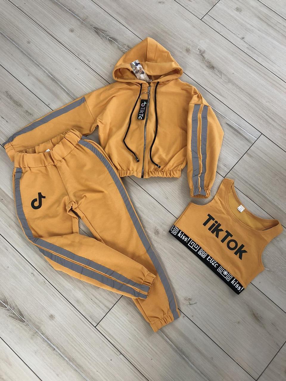 Спортивный костюм тройка со светоотражающими элементами для девочки 134-158р