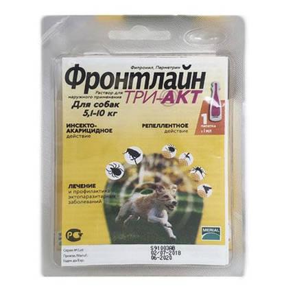 Капли Boehringer Ingelheim Frontline TRI-AKT S против эктопаразитов для собак от 5 до 10 кг, монопипетка, фото 2