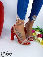 Женские босоножки на высоком каблуке красные 40 размер стелька 25.5 см
