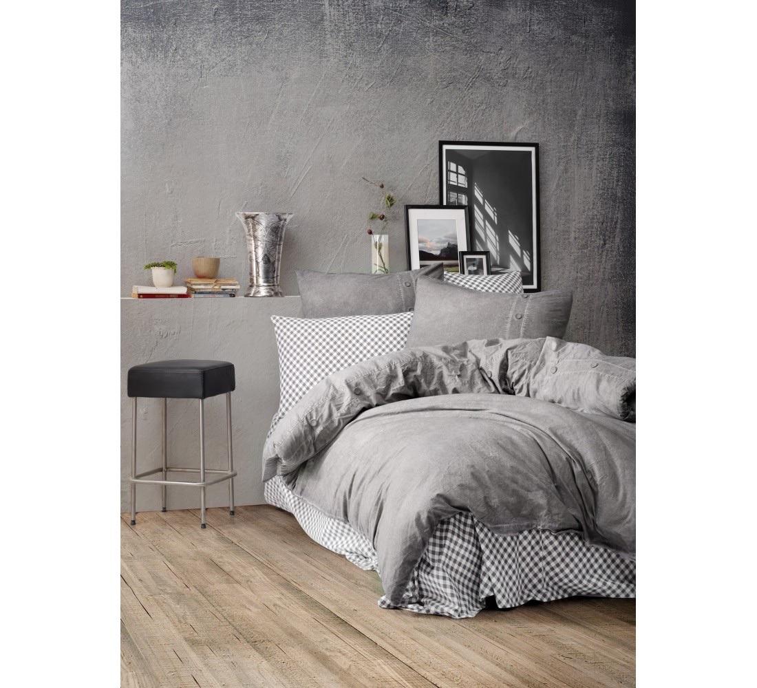 Постельный комплект евро серый DENIM Hermanus Home