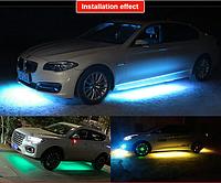 Декоративная RGB LED подсветка днища авто 120х90 с пультом