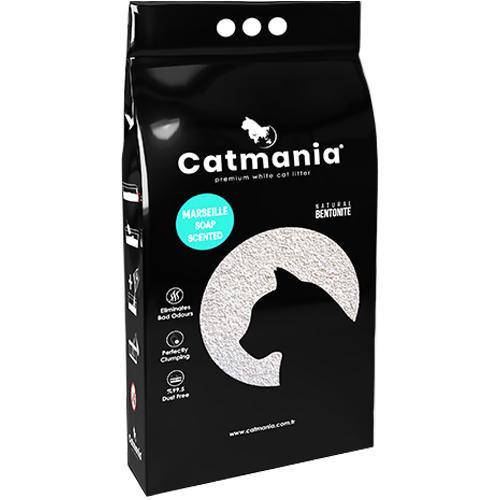 Бентонитовый наполнитель Catmania для кошек с запахом марсельского мыла, бирюзовые гранулы, 5 л