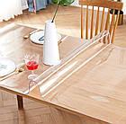 Прозрачная силиконовая скатерть на стол Soft Glass Защита для мебели 1.0х2.1 м Толщина 2 мм Мягкое стекло, фото 4
