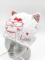 """ОПТ,  хлопковая шапочка детская для девочки,  """"Кошечка в очках"""", с завязками, фото 1"""