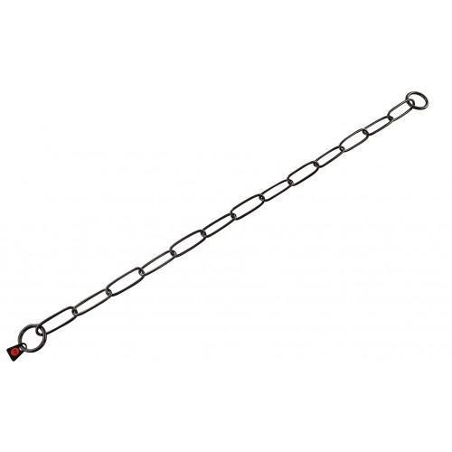 Ошейник-цепь Sprenger Long Link для собак, с широким звеном, черная сталь, 3 мм, 54 см