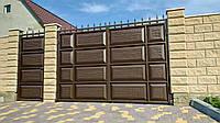 Розсувні металеві ворота шоколадка ш3500 в2150 (дизайн фільонка-жатка+кульки і піки), фото 1