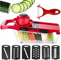 Овочерізка Mandoline Slicer 6in1 №13.Мультислайсер для овочів і фруктів.Овочерізка з контейнером для шинкування., фото 1