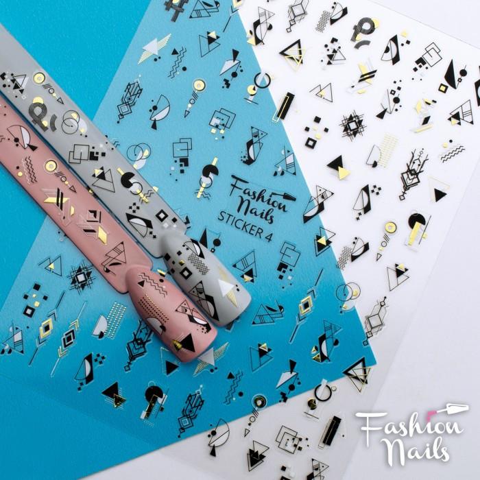 Стікер для нігтів STICKER 4 Fashion Nail на клейкій основі - Чорно-білі слайдери Геометрія на липкій основі