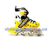 Ролики раздвижные желтые размер 31-34, 35-38, 39-42, переднее колесо светится