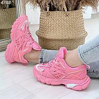 Розовые кроссовки на шнуровке, фото 1