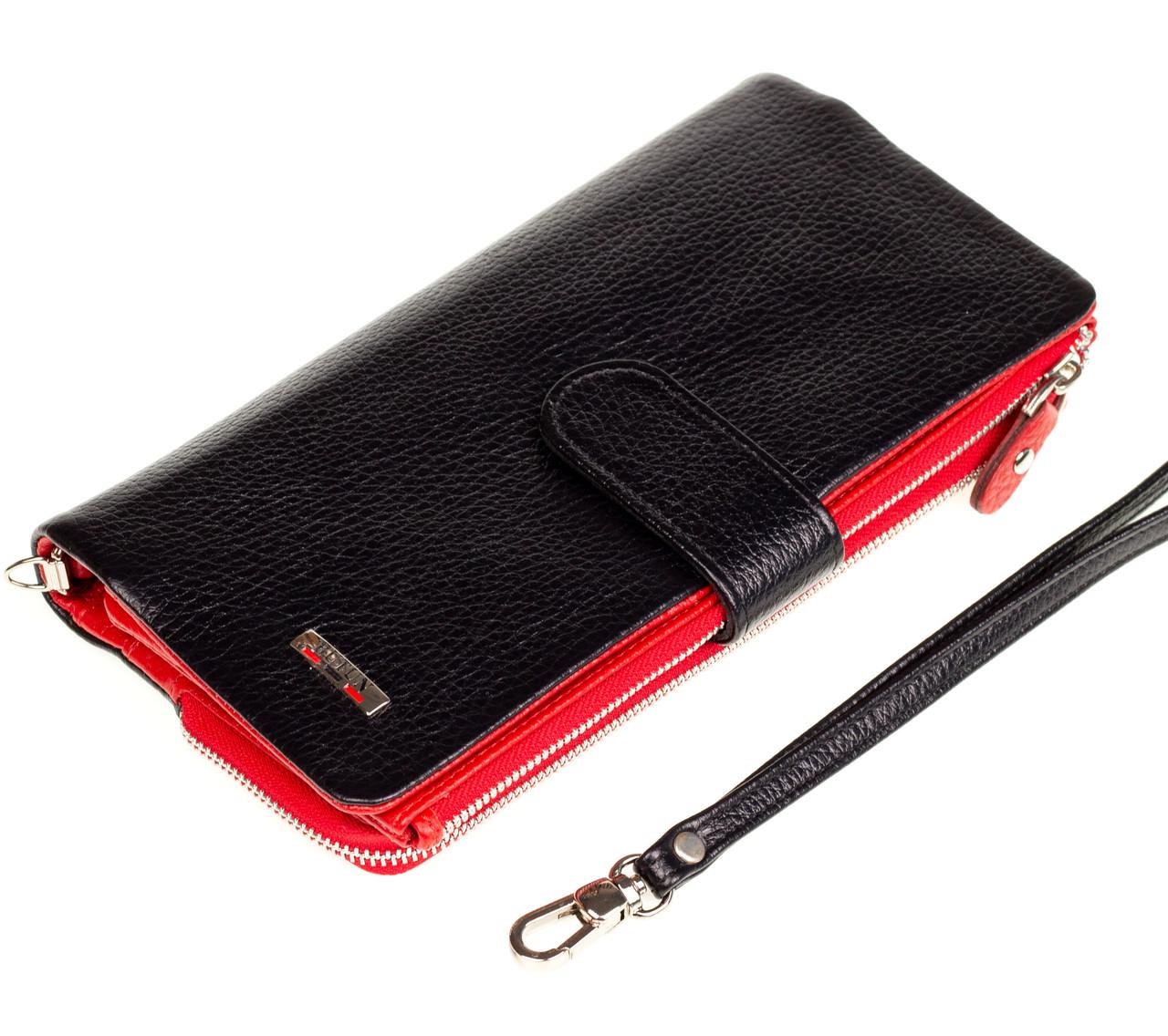 Женский клатч BUTUN 022-004-039 кожаный черный с красным