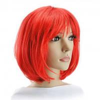 Парик из искусственных волос каре (красный)