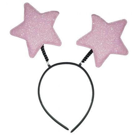 Антенка рожки на голову  Звездочки (розовый)