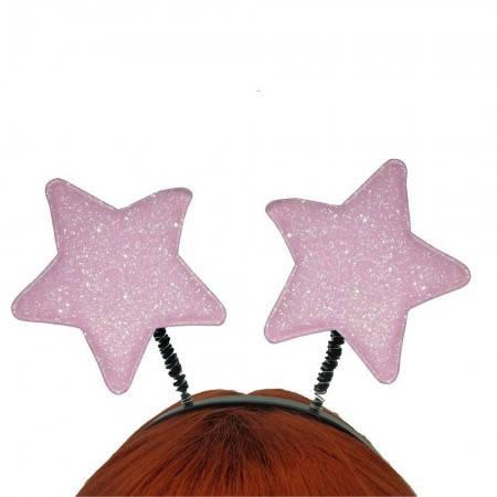 Антенка рожки на голову  Звездочки (розовый), фото 2