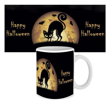 Кружка с крутым принтом 63601 Happy Halloween Кошка