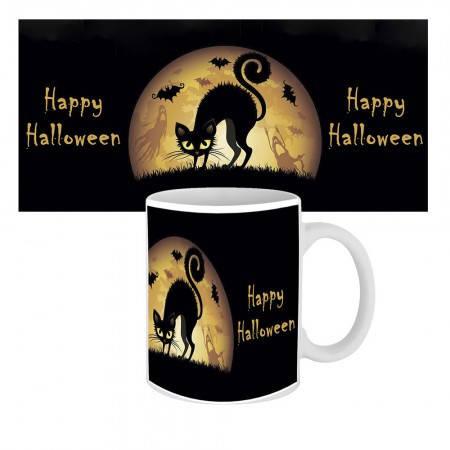 Кружка с крутым принтом 63601 Happy Halloween Кошка, фото 2