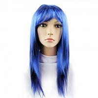 Парик из искусственных волос ровный (синий)