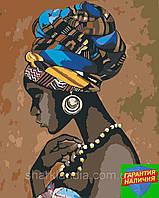 Картина по номерам Украшения Африки (цветной холст) 40*50см Розпис по номерах