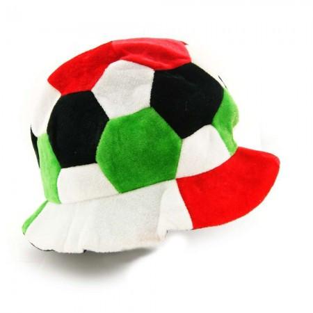 Шапка велюровая  болельщика с футбольным мячом (красно-зеленая)