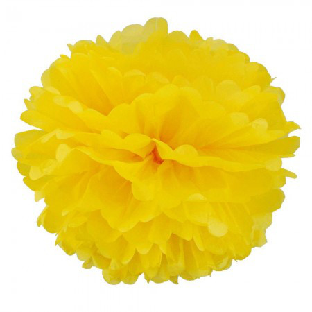 Бумажные помпоны для декора 25см (желтый 0019)